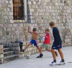 Soccer boys having fun