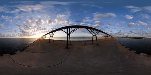 sunset sky panorama lighthouse lake beach geotagged pier unitedstates michigan lakemichigan 360x180 manistee spiv 360º hugin equirectangular sigma8mm nodalninja geo:lat=44251196 geo:lon=86344843