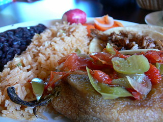 Chile relleno and carne asada soft taco with rice and black beans | by jessicafm