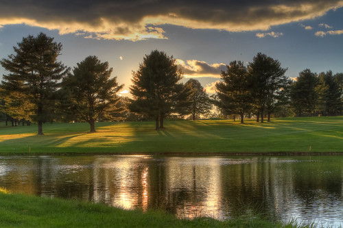 sunset fall clouds golf course foliage hdr