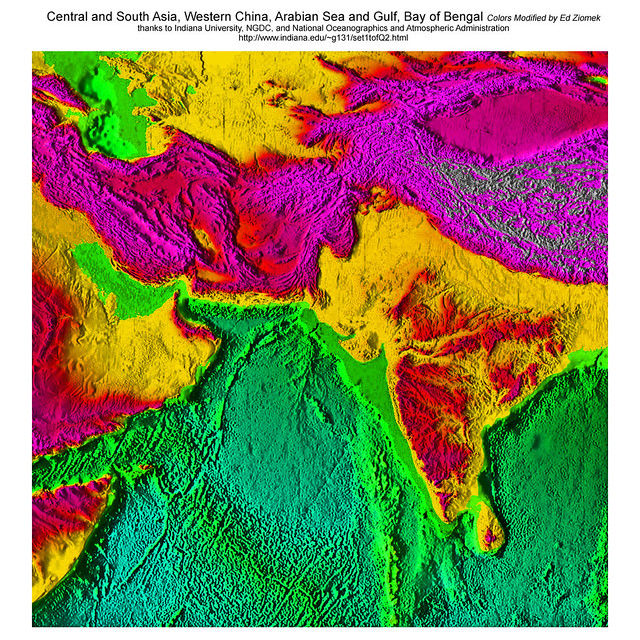 Central South Asia, Arabian Sea, Persian Gulf States, Ocean Floor Ancient Roads, best viewed at 400%