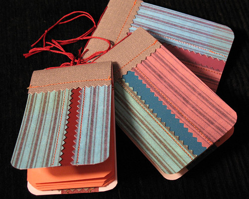 3 recycled striped mini notebooks