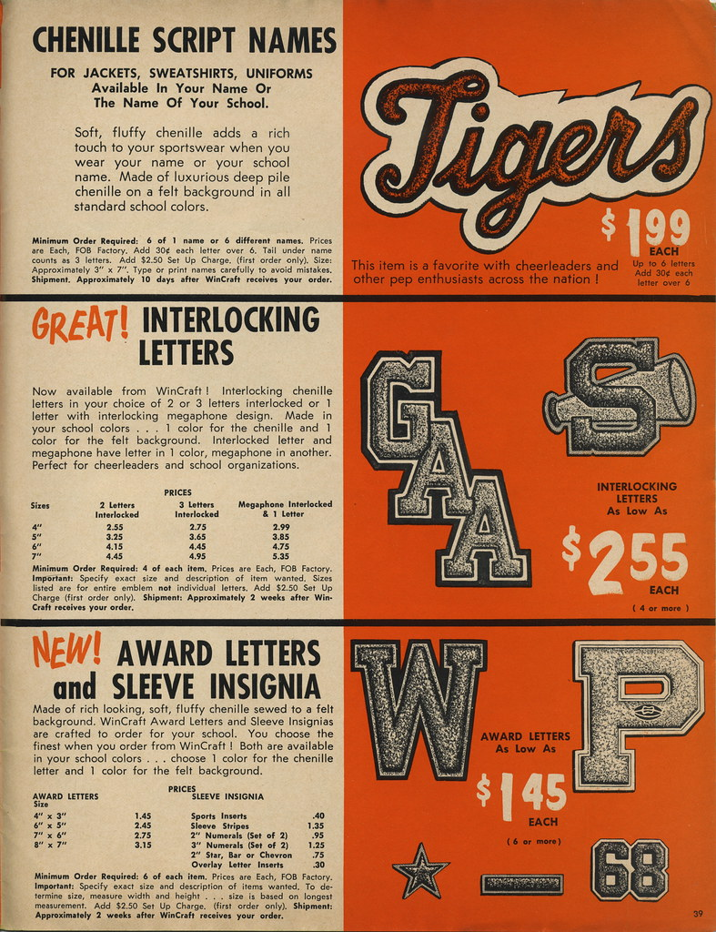1968-69 Wincraft Catalog Page - 39 | Chenille Script Names G
