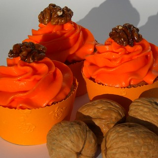 spiced walnut cupcakes with orange blossom water frosting