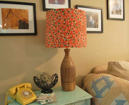 thrifted lamp, fabric shade | by SouleMama