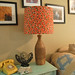 thrifted lamp, fabric shade