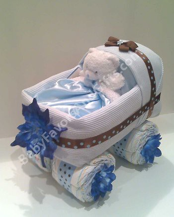 Baby Shower Centerpieces Blue Brown Baby Carriage Diaper C Flickr