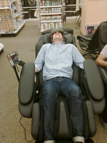 Pat Lee being tortured in a massage chair | by balleyne