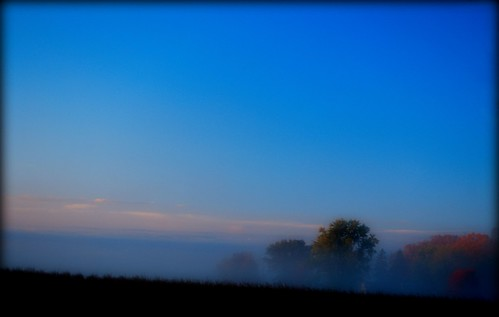 morning blue autumn trees ohio sky mist fog sunrise backyard october country 2010 fairfieldcounty stoutsville