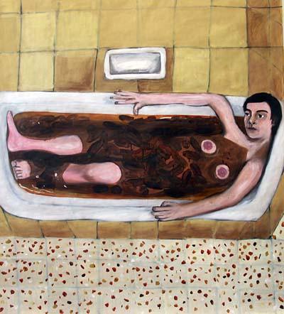 shit bath dream,120x140,oil on paper   2006   G Pasternak