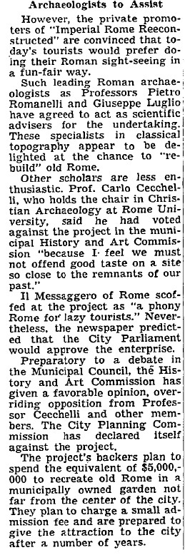 "ROMA ARCHEOLOGICA & RESTAURO ARCHITETTURA: ""Romans Debating A Fun Fair on the Past - Re-Creation in Miniature of Imperial Age Planned as Tourist Attraction."" The New York Times (15 July 1959): 6."