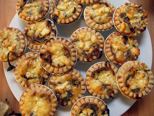 Caramelised red onion and goat's cheese tarts