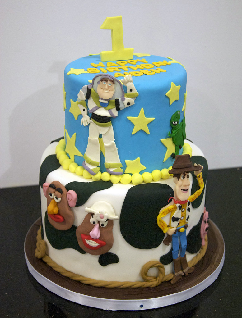 Outstanding Bc4091 Toy Story Birthday Cake A Fun 2 Tier Toy Story Ca Flickr Personalised Birthday Cards Fashionlily Jamesorg