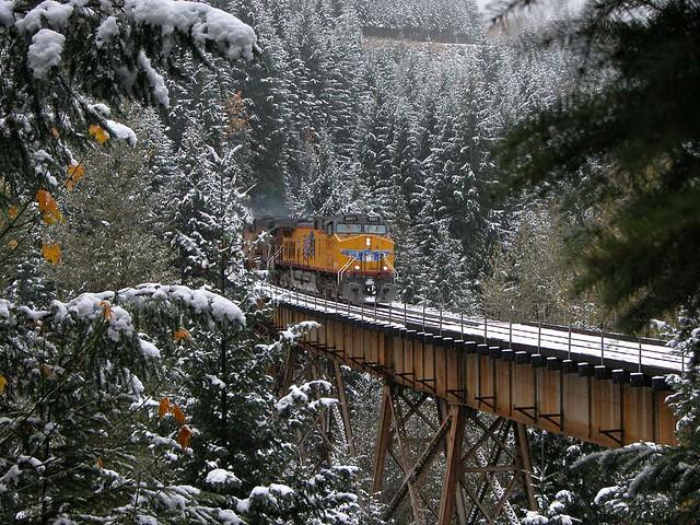 Winter Freight on Salt Creek Trestle
