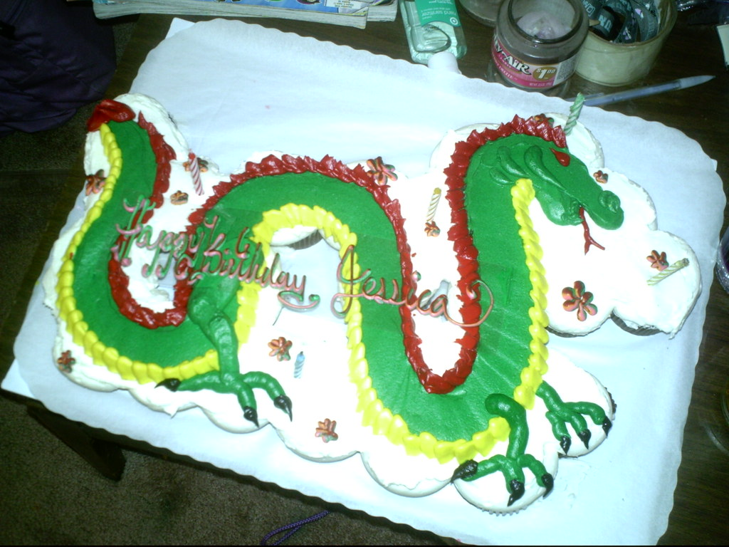 Surprising Cupcake Dragon Cake Store Bought Cake From Safeway Robynn Flickr Funny Birthday Cards Online Elaedamsfinfo