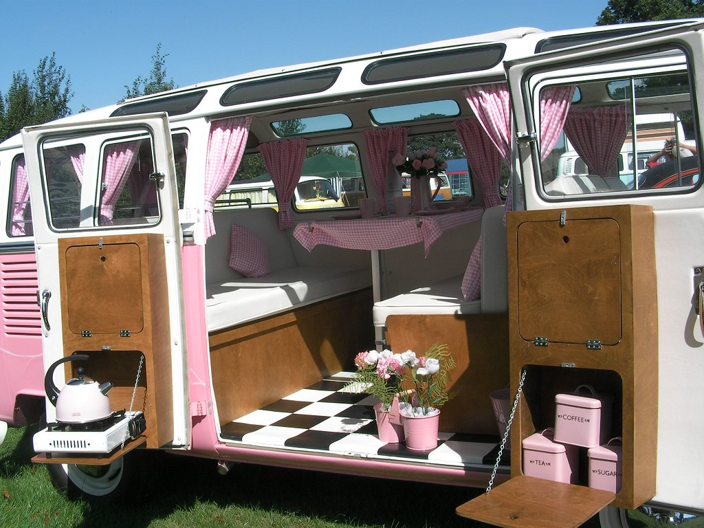 Pink Camper Van - Add Powerpoints To Turn Camping Into Luxury