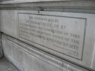 Dedication stone on National Amalgamated Approved Society