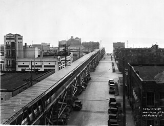 Conveyor belt to waterfront from 5th and Battery, 1929
