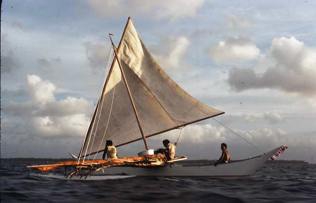 outrigger canoe sailing in Ujelang Lagoon, Marshall Islands