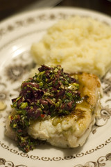 Monkfish with salsa and mashed potatoes