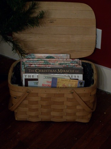 Basket of Chrismas books | by notes from the trenches