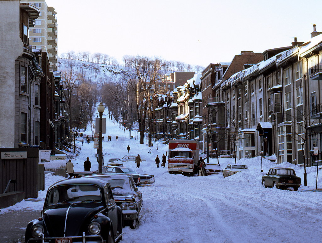 Peel St., Montreal, Feb. 20, 1972 | Blue collar workers went… | Flickr