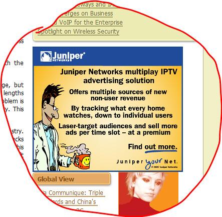 Juniper Networks IPTV advertising
