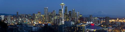 Seattle Skyline with Mount Rainier From Kerry Park Stitch | by Walakazoo