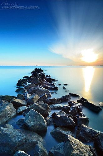 longexposure blue sun beach water rock clouds sunrise nikon maryland explore lee burst sandypointstatepark d7000 bigstopper