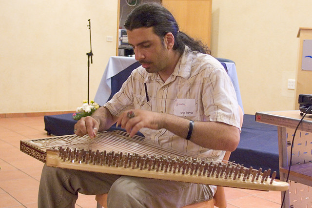 Ariel Qassis playing the Qanun