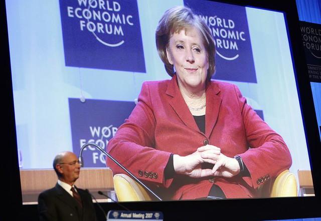 Angela Merkel, Klaus Schwab - World Economic Forum Annual Meeting Davos 2007