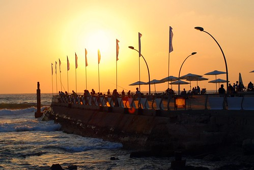 Flags. Sunset. Sea.   by Flickmor