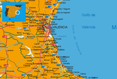 Mapa De Valencia España.Mapa Costa Valencia Espana Muchoviaje Hoteles En Costa