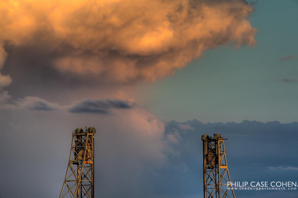Clouds & Memorial Bridge Towers by Philip Case Cohen