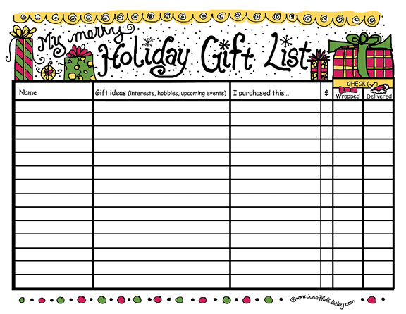 graphic about Christmas Gifts List Printable identified as Trip Present Record Printable Cost-free printable readily available listed here