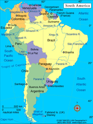Interactive map. What\'s the name? Countries of South America - Mapas ...