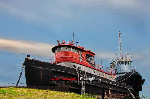 sky grass clouds boat ship transportation tugboat hdr wwb