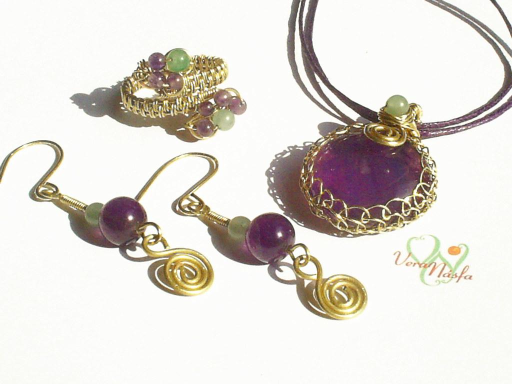 Adventurine Green Glass Pendant and Earrings Set Fused Glass Pendant Glass Earrings