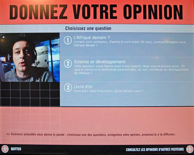 Ecran d'accueil du dispositif d'expression des opinions des visiteurs