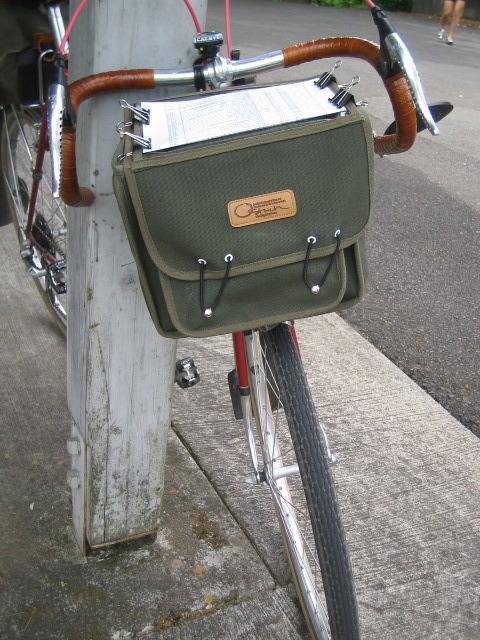 Ostrich bag on J's Motobecane