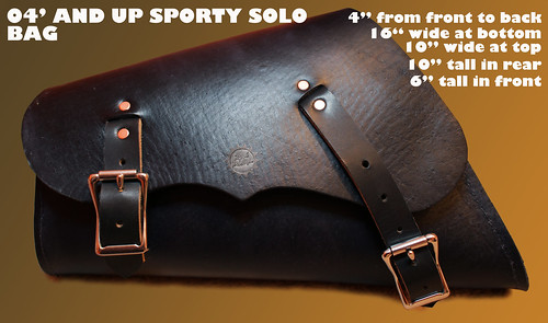 sportster bag black with measurements | by Richard Phillips Leather LLC