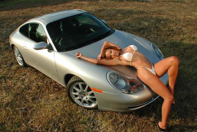 Porsche 911 and hot girl in bikini