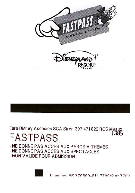 Fastpass entrance ticket