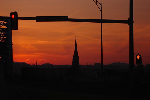 orange church clouds sunrise pennsylvania steeple buswindow mckeesrocks