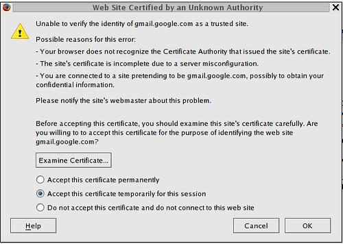 gmail SSL Certificate problem?