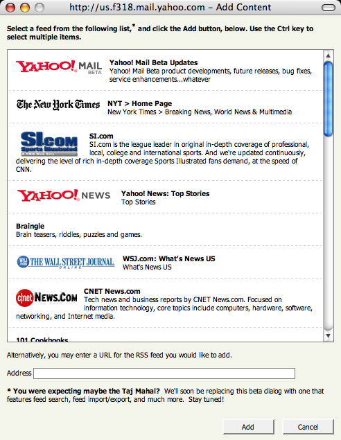 Adding feed to Yahoo! Mail RSS