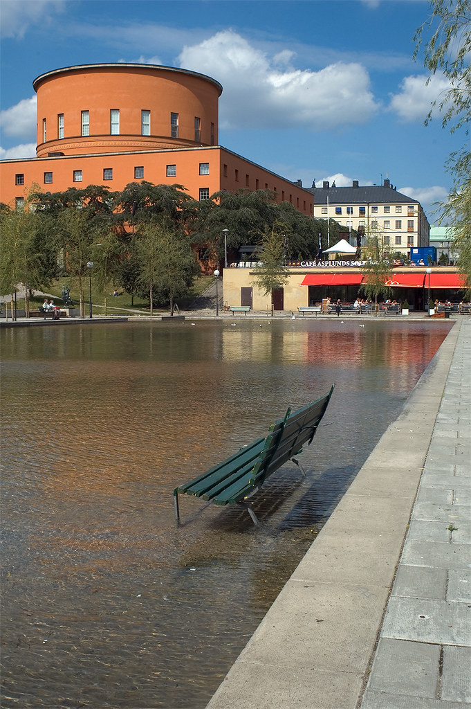 Seat In Pond By The Stockholm City Library Among The More Flickr