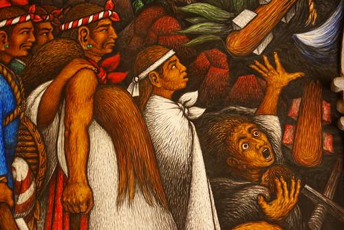 Detalle del Mural de Desiderio Hernández Xochitiotzin