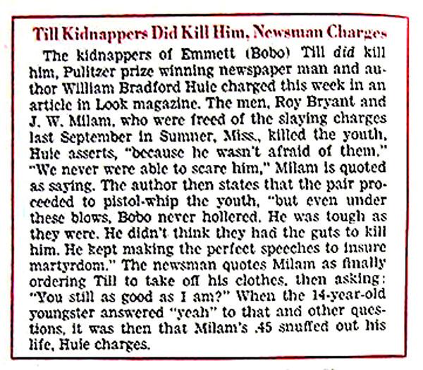 Emmett Till Kidnapers DID Kill Him - Jet Magazine, January 19, 1956