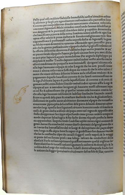 Pointing hand in Poggius Florentinus: Historia Florentina [Italian]
